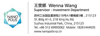 Wenna Wang Supervisor - Investment Department +86 512 69993062